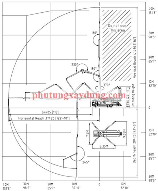 Bán xe bơm bê tông Hàn Quốc KCP cần dài 42m-1