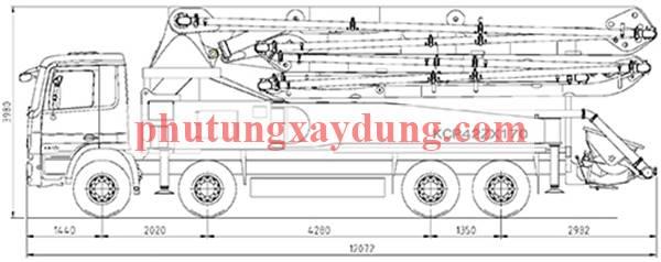Bán xe bơm bê tông Hàn Quốc KCP cần dài 42m-2