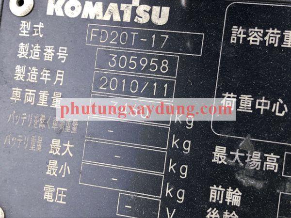 Bán xe nâng hàng Komatsu 2 tấn sản xuất 2010-1